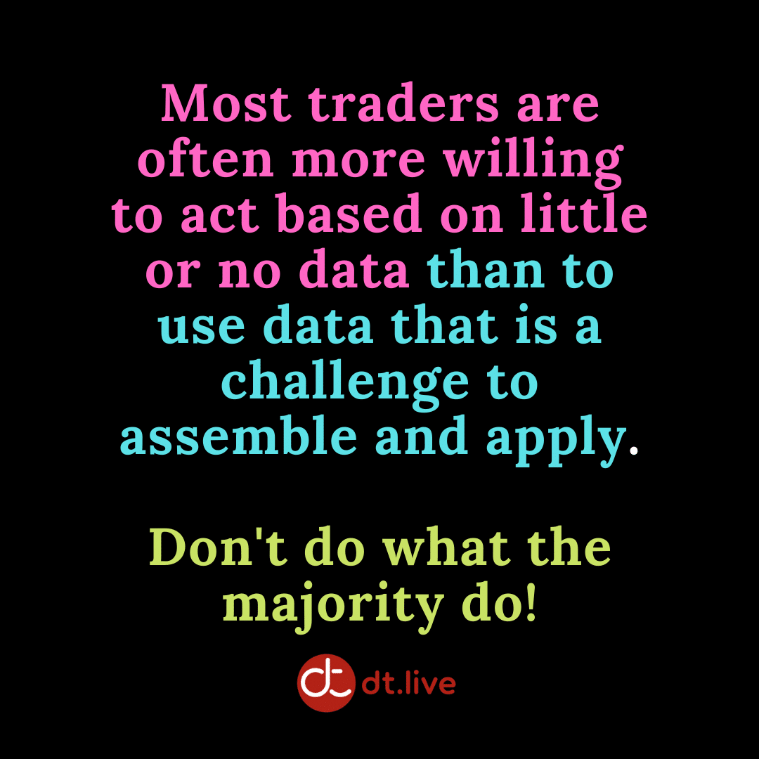 Most traders are often more willing to act based on little or no data than to use data that is a challenge to assemble and apply. Don't do what the majority do!